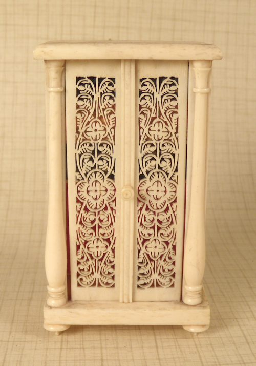 Ivory Bookcase with Ivory Books #202-12 - Antique Dollhouse Furniture