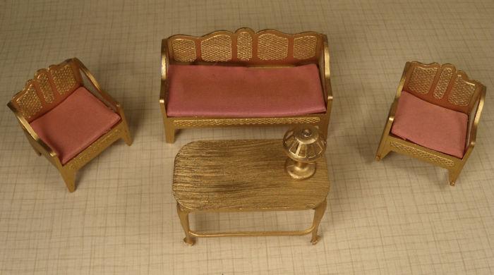 Tootsietoy Five Piece Livingroom Gold #201-32 - Antique Dollhouse Furniture