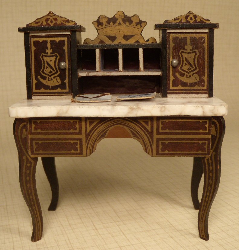 Kestner Boulle Desk with Marble Surface and Envelopes #194-09 - Boulledesk1.jpg