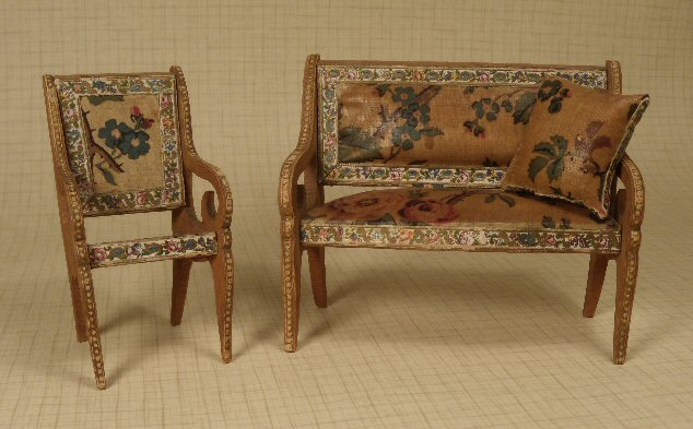 German Sofa, Pillow and Chair with Dresden Paper #195-23 SOLD - Antique Dollhouse Furniture